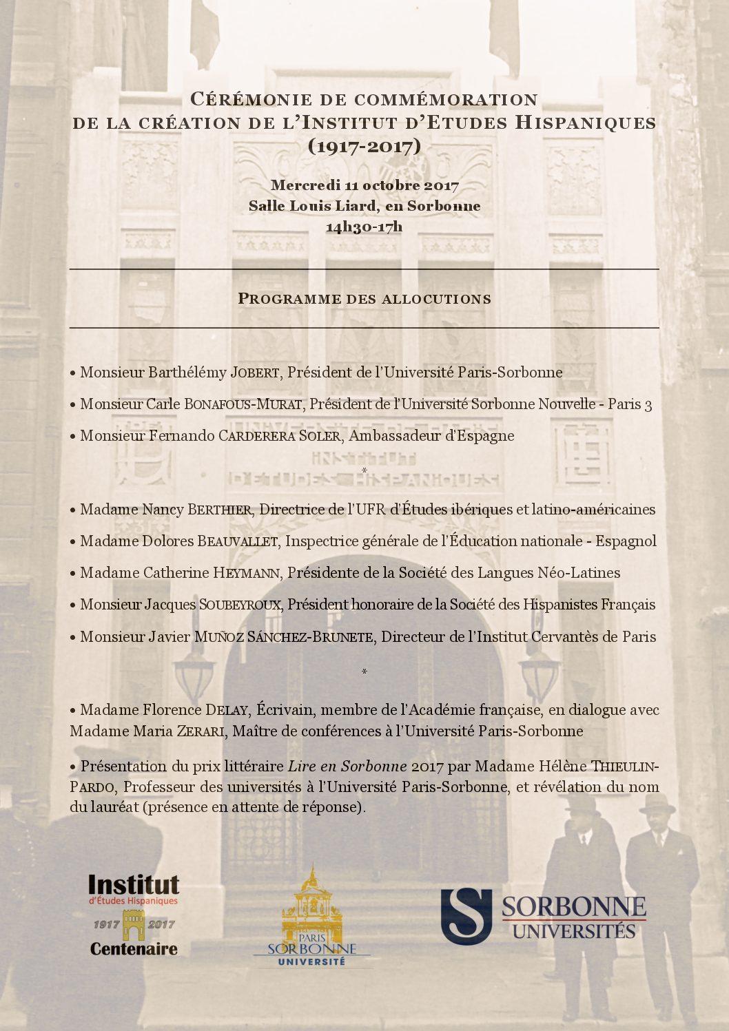 Cérémonie de commémoration de la création de l'Institut d'Études hispaniques